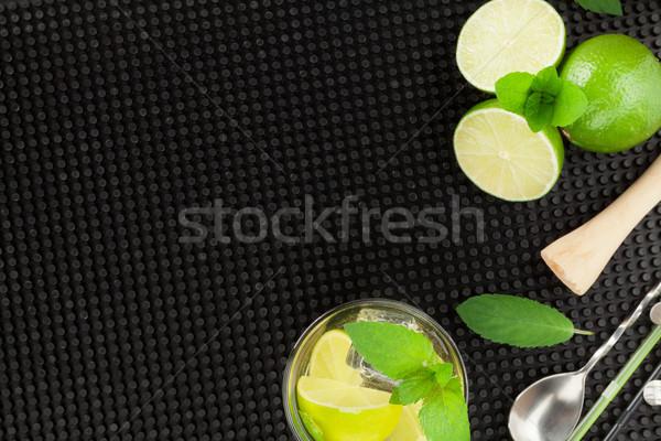 Mojito koktajl składniki czarny gumy górę Zdjęcia stock © karandaev