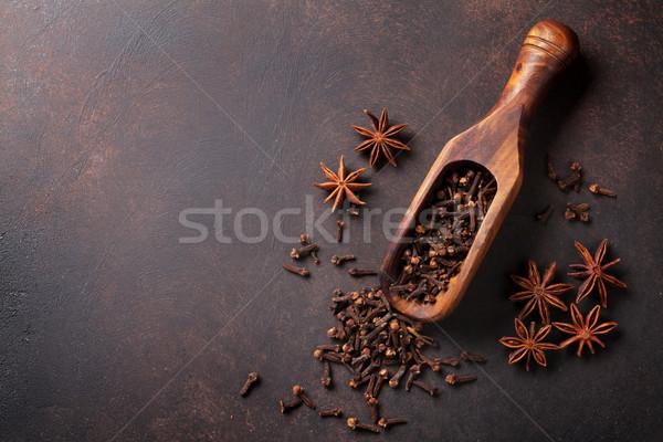 Stockfoto: Wijn · specerijen · ingrediënten · anijs · kardemom · steen