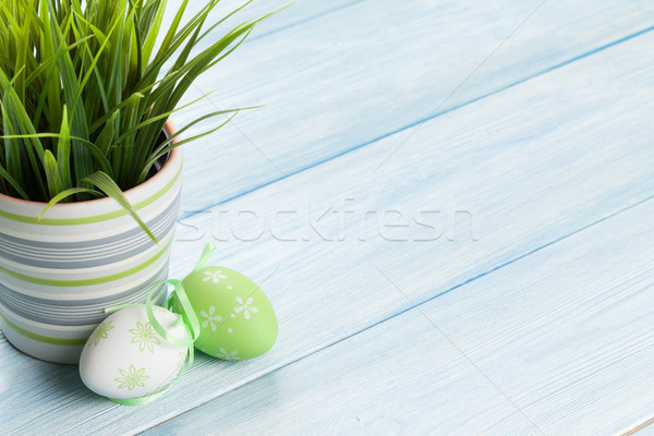 Easter eggs and potted plant Stock photo © karandaev
