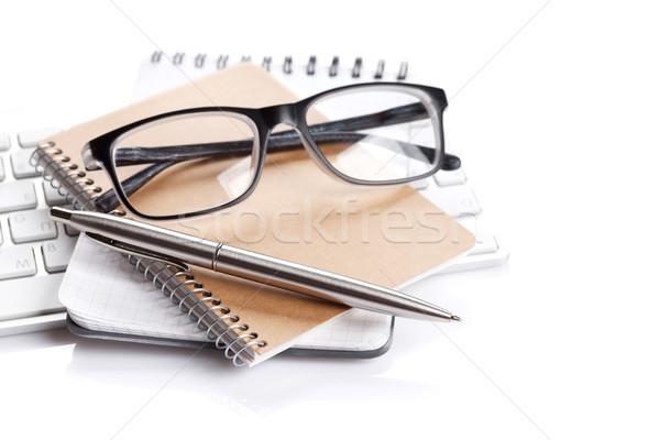 事務用品 帳 キーボード ペン 眼鏡 孤立した ストックフォト © karandaev
