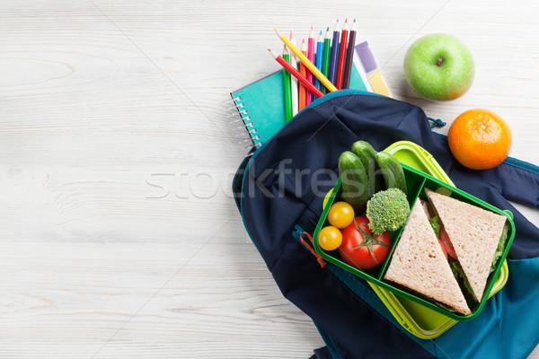 Ebéd doboz tanszerek zöldségek szendvics fa asztal Stock fotó © karandaev