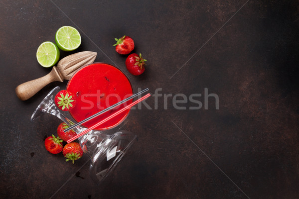 Stock fotó: Eper · koktél · sötét · kő · asztal · felső