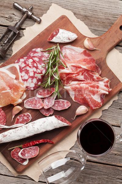 Salami jamón salchicha prosciutto vino Foto stock © karandaev