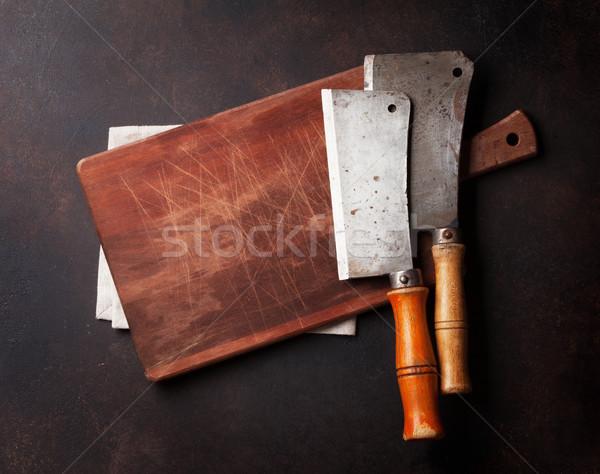 Hentes klasszikus hús kések tábla vágódeszka Stock fotó © karandaev