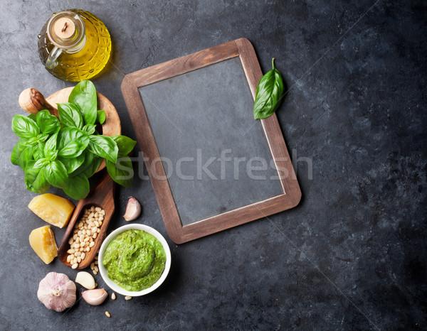 ペスト ソース 材料 料理 バジル オリーブオイル ストックフォト © karandaev
