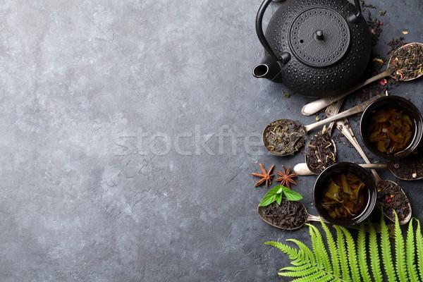 Stok fotoğraf: çay · kaşık · demlik · siyah · yeşil