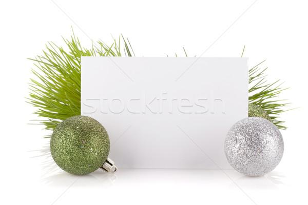 Vacío tarjeta de regalo Navidad decoración aislado blanco Foto stock © karandaev