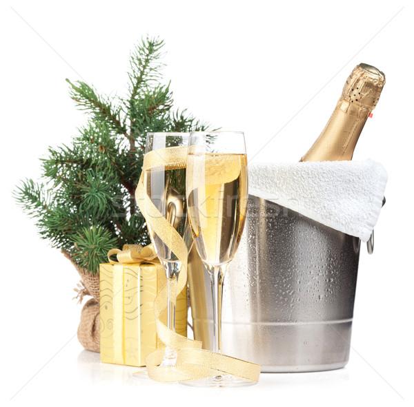 Champagne fles ijs emmer twee bril Stockfoto © karandaev