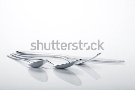 Argenterie fourche couteau isolé blanche Photo stock © karandaev