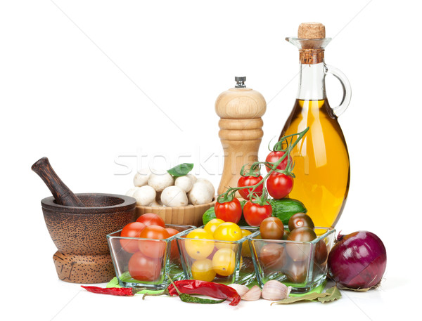 Fresh ingredients for cooking: tomato, cucumber, mushroom and sp Stock photo © karandaev
