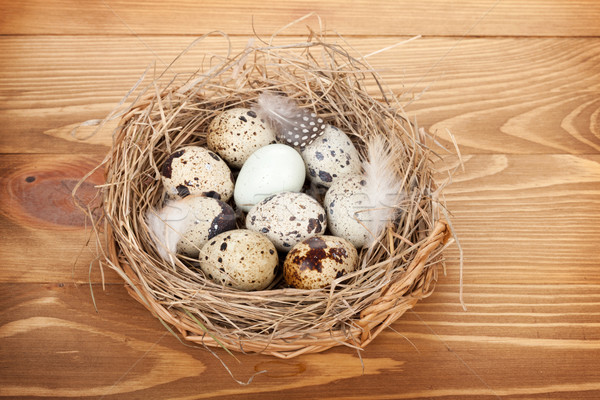 Stock foto: Eier · Nest · Holztisch · Holz · Hintergrund · Vogel