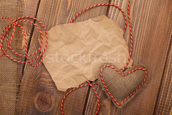 Blank old piece of paper and vintage handmaded valentines day to Stock photo © karandaev