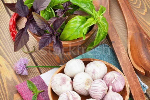 Stock photo: Fresh farmers basil and spices