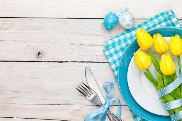 Paskalya sarı lale renkli yumurta beyaz Stok fotoğraf © karandaev