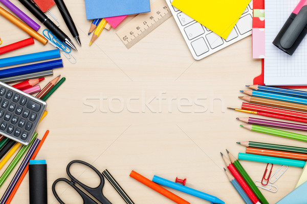 Iskola irodaszerek iroda asztal felső kilátás Stock fotó © karandaev