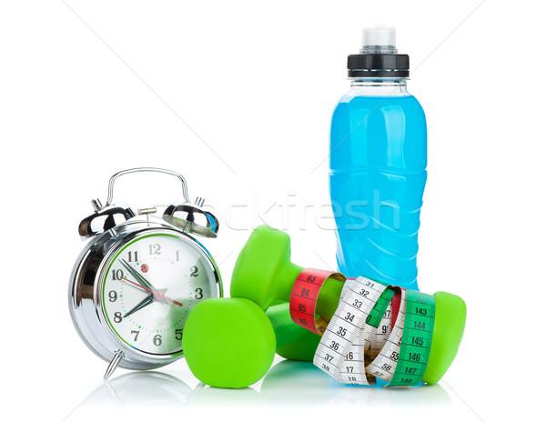 Iki yeşil şerit metre içmek şişe çalar saat Stok fotoğraf © karandaev