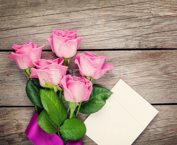 Stock photo: Pink roses and valentines day blank greeting card or photo frame