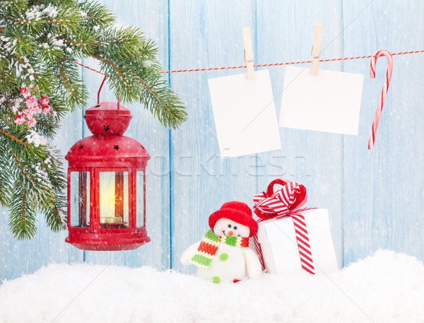 Stockfoto: Christmas · kaars · lantaarn · geschenkdoos · foto's · foto