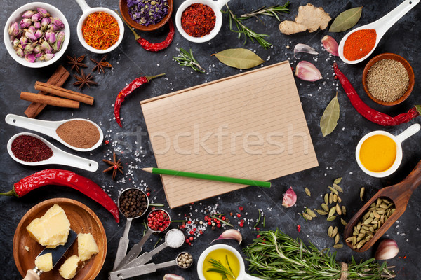 Notepad for your recipe with herbs and spices Stock photo © karandaev