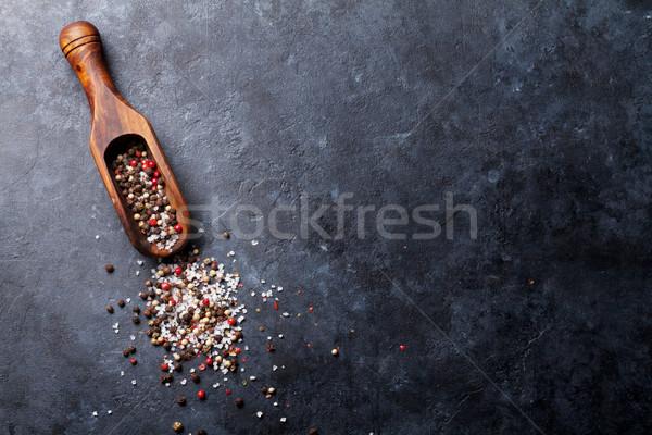 перчинка соль перец специи красный белый Сток-фото © karandaev