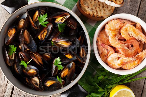Houten tafel top voedsel hout zee Stockfoto © karandaev