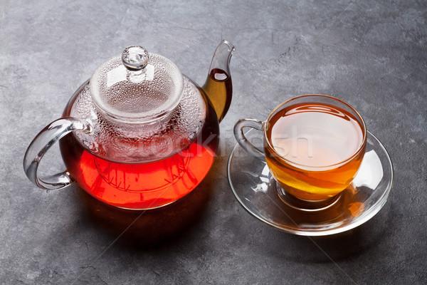 Teáscsésze teáskanna kő asztal étel természet Stock fotó © karandaev