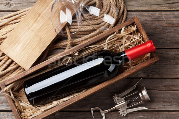 Red wine bottle and glasses Stock photo © karandaev