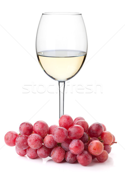 White wine glass with red grapes Stock photo © karandaev