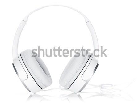 Stock fotó: Fejhallgató · online · zene · izolált · fehér · háttér