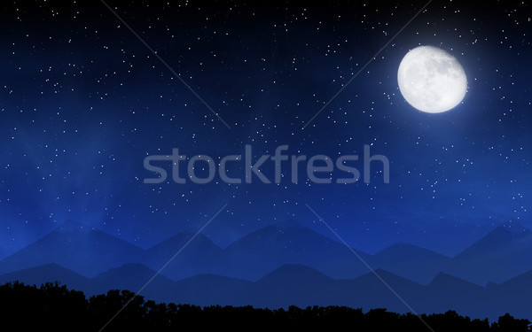 Diep nachtelijke hemel veel sterren maan bos Stockfoto © karandaev