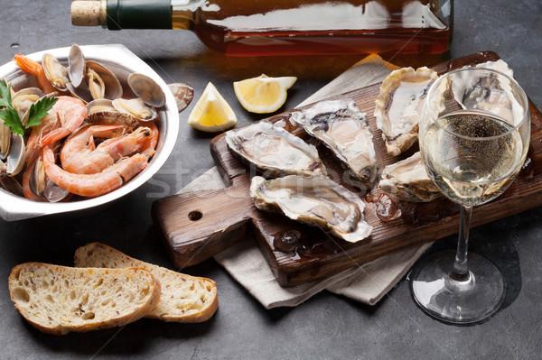 свежие морепродуктов белое вино каменные таблице продовольствие Сток-фото © karandaev