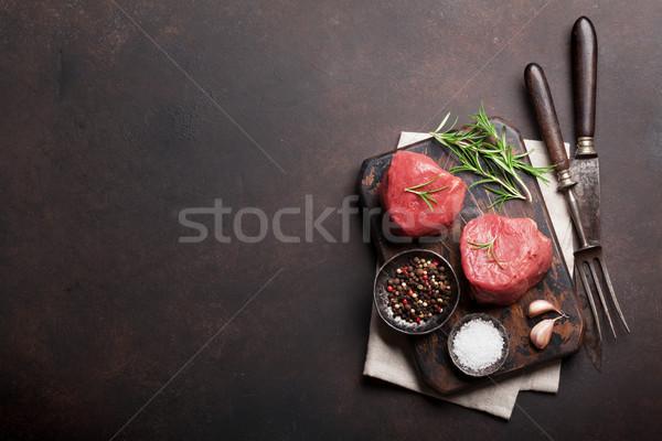 Brut filet steak cuisson pierre table Photo stock © karandaev