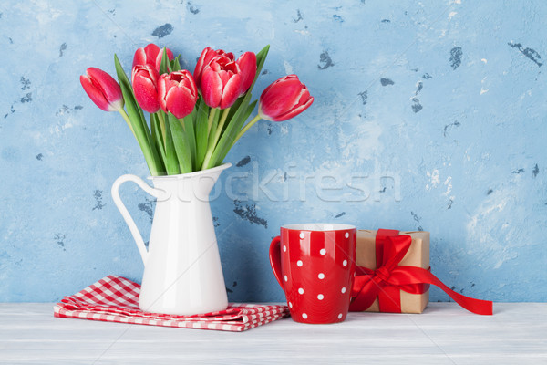 Red tulip flowers bouquet Stock photo © karandaev