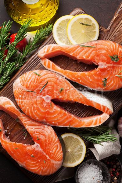 Greggio salmone pesce filetto spezie cottura Foto d'archivio © karandaev