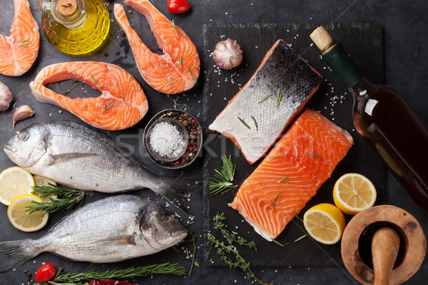 Raw salmon and dorado fish fillet Stock photo © karandaev