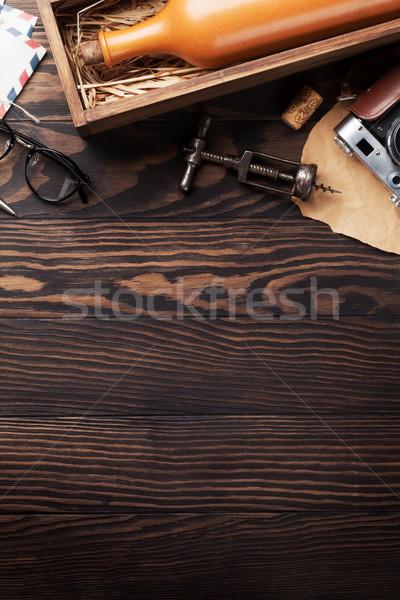Retro table with vintage items Stock photo © karandaev