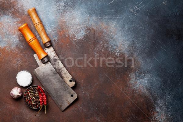 Klasszikus konyha kellékek fűszer öreg kő Stock fotó © karandaev