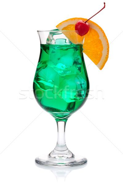 Green cocktail with orange and maraschino Stock photo © karandaev