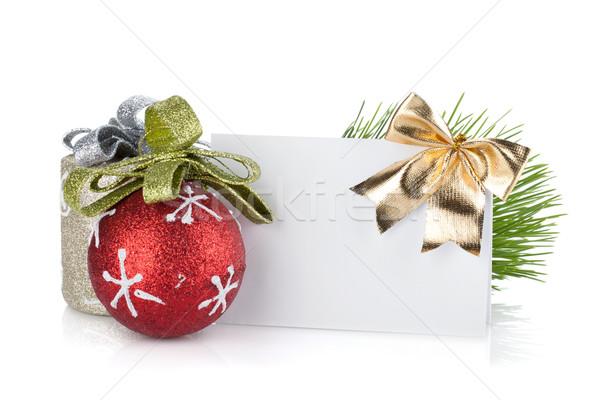 Zdjęcia stock: Pusty · christmas · gift · card · odizolowany · biały