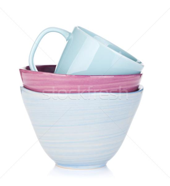 Stockfoto: Kleurrijk · kommen · beker · koffie · Blauw · diner