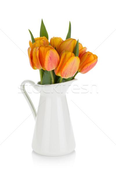 Naranja tulipanes ramo jarra aislado blanco Foto stock © karandaev