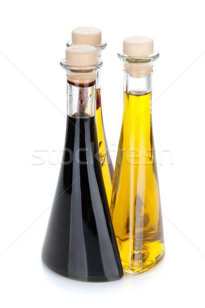 Olívaolaj ecet üvegek izolált fehér gyümölcs Stock fotó © karandaev