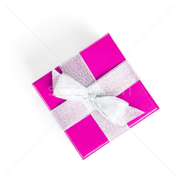 Purple gift box with silver ribbon Stock photo © karandaev