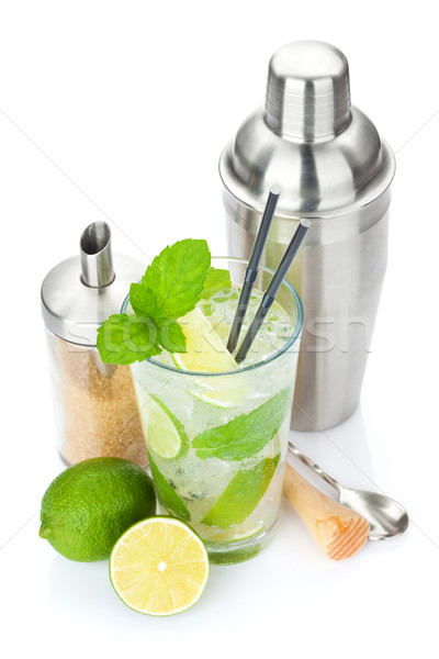 Fresh mojito cocktail and bar utensils Stock photo © karandaev