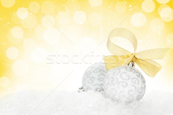 Stock fotó: Karácsony · színes · dekoráció · hó · izolált · fehér