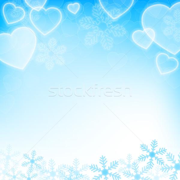 Zimą wakacje płatki śniegu serca kopia przestrzeń Zdjęcia stock © karandaev