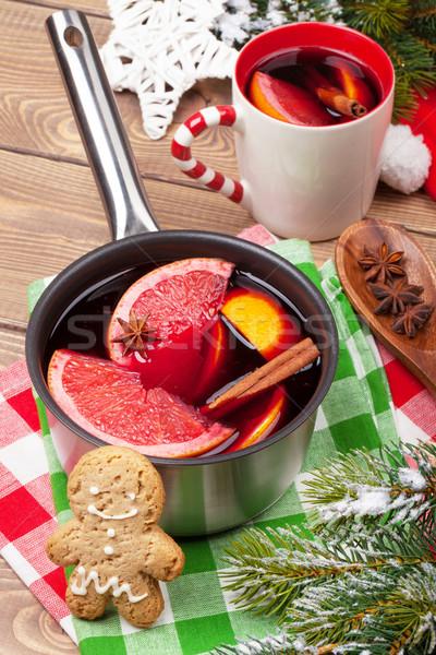 Сток-фото: Рождества · вино · деревянный · стол · древесины · фрукты · оранжевый