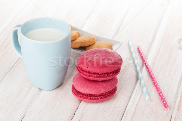 Кубок молоко macarons белый деревянный стол продовольствие Сток-фото © karandaev