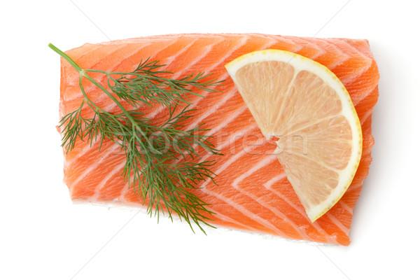 Fresh salmon piece with lemon slice and dill Stock photo © karandaev