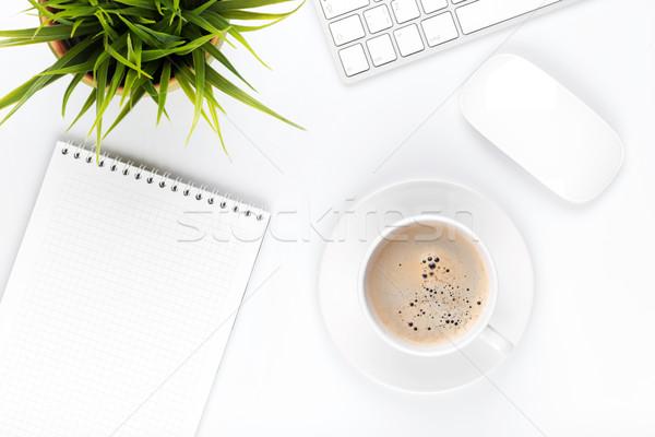 ストックフォト: 表 · コンピュータ · コーヒーカップ · 花